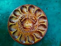 ANTIQUE FRENCH SARREGUEMINES MAJOLICA CRAB OYSTER PLATTER HAND PAINTED REVENAY