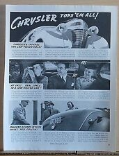 1937 magazine ad for Chrysler - Tops 'Em All! Real Space in Low-Priced Car