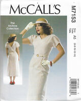 M7153 tea dress 1930s 1940s style, SEWING PATTERN, McCall's size 6-22 vintage