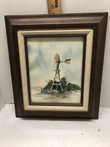 Vintage Print if a Rustic Windmill/Waterpump Landscape by R. Dye (79)