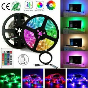 5M LED Strip Lights 5050 RGB Colour Changing Tape TV Lighting Cabinet Kitchen