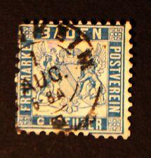 Briefmarke, Baden, MiNr. 11, 6 Kreuzer, Wappen, gestempelt