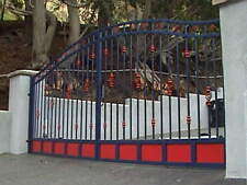 wrought iron driveway entry gate