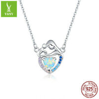 Women Authentic 925 Sterling Silver Mom and me CZ Necklace For Mother's Day gift