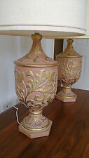 Table Lamp Pair Classical Design Terracotta and Gold Italian Made