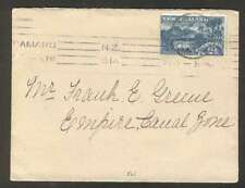 New Zealand To Panama Canal Zone Cover 1914 w 1 Stamp