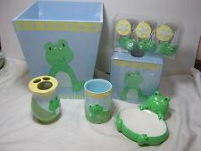 17pc Tiddliwinks Froggie Soap Dish Toothbrush Holder Waste Basket Tissue Tumbler