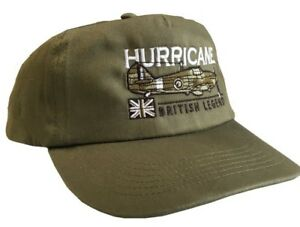 HAWKER HURRICANE WW2 RAF FIGHTER AIRCRAFT GREEN ADJUSTABLE BASEBALL CAP.