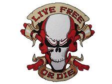 "Live Free Or Die Skull Bones Outlaw Biker Rider Big Embroidered Back Patch 10.4"""
