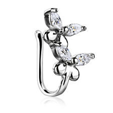 Double Butterfly CZ Nose Hoop Ring No Piercing Clip On Multi Clear CL21