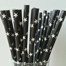 Black Paper Straws Stars Pattern For Party Birthday Wedding 25Pcs Biodegradable