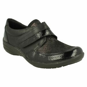 REMONTE LADIES LEATHER HOOK & LOOP EXTRA WIDTH CASUAL FLATS BLACK SHOES R7600