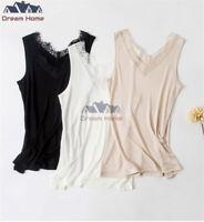 Women Pure Silk Tank Sleeveless Top Knit Vest Lace Singlet Blouse Luxury Silky