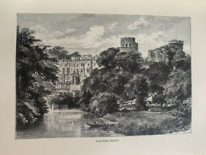 1880 View Of Warwick Castle, England Original Antique Print