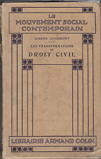 Les Transformations du Droit Civil - Joseph CHARMONT - 1912