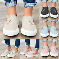 Womens Canvas Loafers Pumps Casual Slip On Flat Sneakers Plimsolls Comfy Shoes