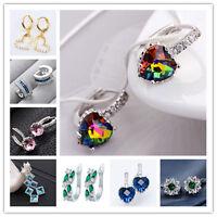 New Fashion Jewelry Silver Filled Gems Sapphire Stud Dangle Drop Hoop Earrings