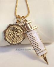 Gold RN Nursing Necklace Caduceus Syringe Nurse Graduation Gift Box USA Seller