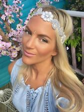 Plata Diamante Flor Marfil Perla Hair Head Band Choochie Choo Hippy Bohemio