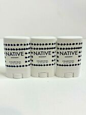Lot of (3) Native Deodorant .35oz * Charcoal * Natural * Trial Size * Gym Size