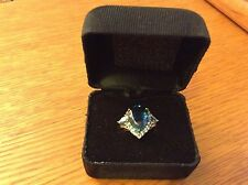 New Ladies 10K London Swiss Blue Topaz Ring 7