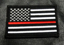 4 PC LOT Thin Red Line Fire Fighter usa Flag BLACK WHITE 3.0 inch HOOK PATCH