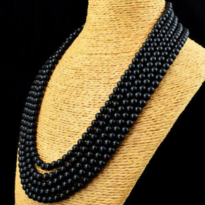 650.00 Cts Natural 5 Strand Black Spinel Round Shape Beads Necklace JK 11E167