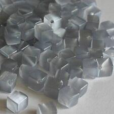 """10 Perles """"Oeil de Chat"""" Cube - 6X6X6 mm - GRIS PERLE"""