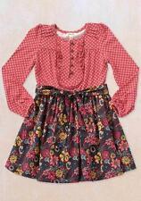 Matilda Jane TATIANA Red Dress 8 Girls Floral Diamond Check Friends Forever NWT
