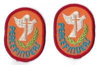Peacefinders Orange with Red Trim Religious with Cross Set of 2 Patches