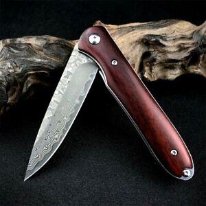 Drop Point Folding Knife Pocket Flipper EDC Hunting Survival Damascus Steel Wood