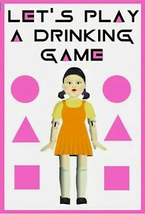 Squid Game Drinking Game Bottle Label For Shots Etc Halloween Birthday Party Hen