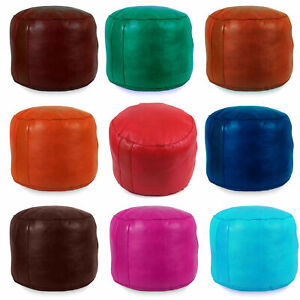 Leather Pouf Ottoman Moroccan Leather Pouf Moroccan Pouf Footstool Leather