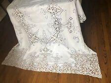 "Antique Linen & Point de Venice Handmade 140""Table Cloth + 10 Napkins"