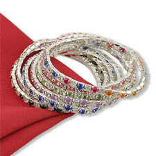 Stylish Women Gift Tennis Rhinestone Crystal Wedding Bridal Stretch Bracelet FT