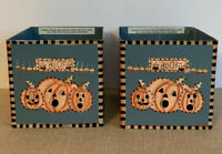Set Of 2 Debbie Mumm Boo! Halloween Pumpkins Metal Candle Holder
