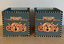 Set Of 2 Debbie Mumm Boo! Halloween Pumpkins Metal Candle Holder