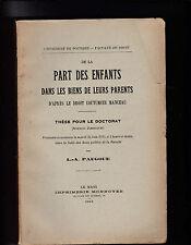 """Héritage """"De la Part des Enfants dans les biens de leurs Parents"""" Droit -Le Mans"""