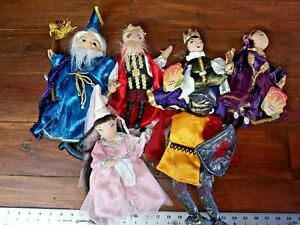 """Folkmanis 10"""" Toy Hand Puppet Lot Queen King Prince Princess Knight Wizard Set"""