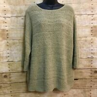 Pure Jill J Jill Pullover Size XL Sweater Mossy Green Textured Stripe Boat Neck