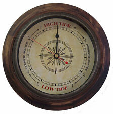 TIDE CLOCK Antique Compass #546 Rustic Wood 9 inch frame tells high/low tide