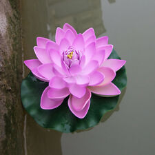 Fake Lotus Water Lily Floating Flower Garden Pool Plant Artificial Ornament Home Sunset Red