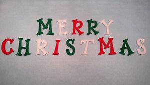 IRON ON  Glitter Felt Letters, Die Cut - MERRY CHRISTMAS, Fun Font