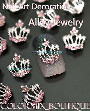 #CA104  3D Bijoux ongles,Couronne argenté strass rose nail art tip manucure
