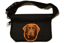 Labrador Chocolate embroidered treat pouch bait bag dog show, training.