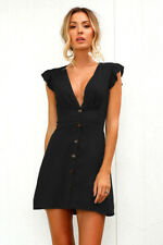 UK Womens Buttons Ruffle Deep V Neck Long Tops Ladies Sleeveless T-shirt Dress Black 8
