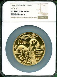 1988 PANDA GOLD  12  OZ  GOLD  1000 YUAN   NGC  PF 69  ULTRA CAMEO BETTER  DATE
