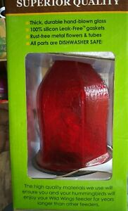 Wild Wings Red Crackle Glass Bird Feeder