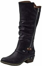 Rieker 93655 Womens Black Synthetic w/ Rubber Sole Riding Knee High Boots 8.5 US