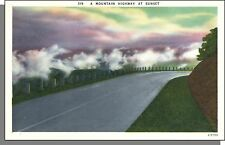 E5759: 1940's USA Post Card - A Mountain Road at Sunset - Deep, Rich Colors!